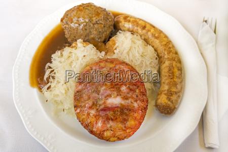 saumagen bratwurst liver dumplings and sauerkraut