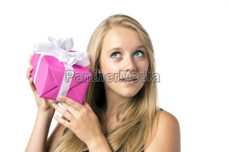 blond, girl, with, present - 10190463