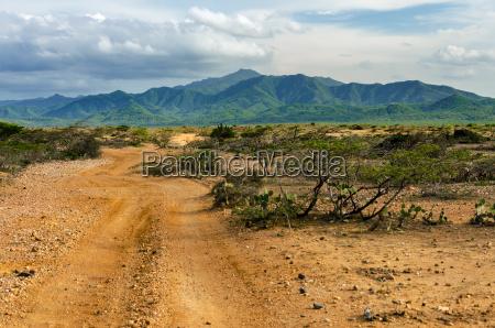 desert and green hills