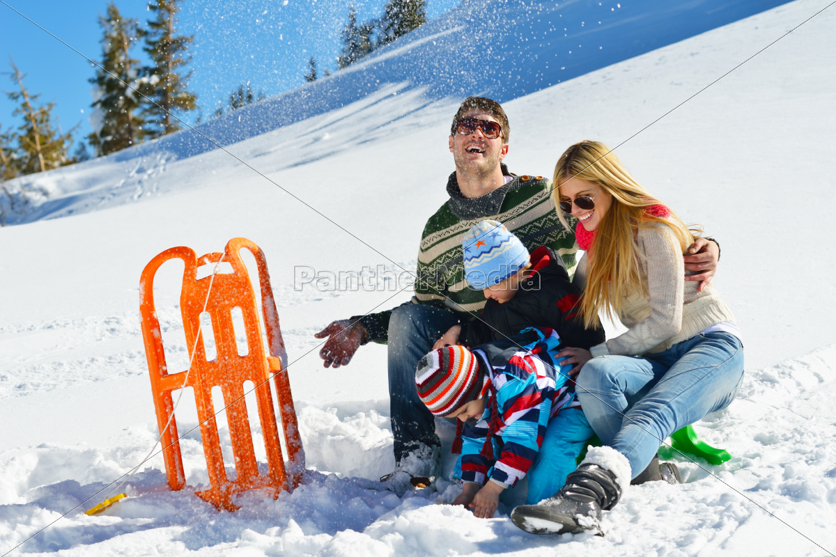family, having, fun, on, fresh, snow - 10196675