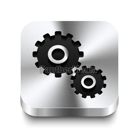 square metal button perspektive gear