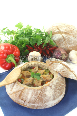 bread soup with peppers