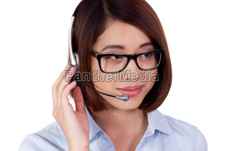 young friendly female call center agent