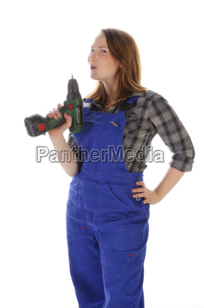 young woman girl in blaumann with