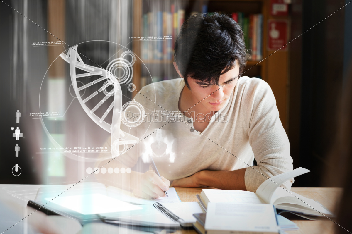 focused, college, student, analysing, dna, on - 10212509
