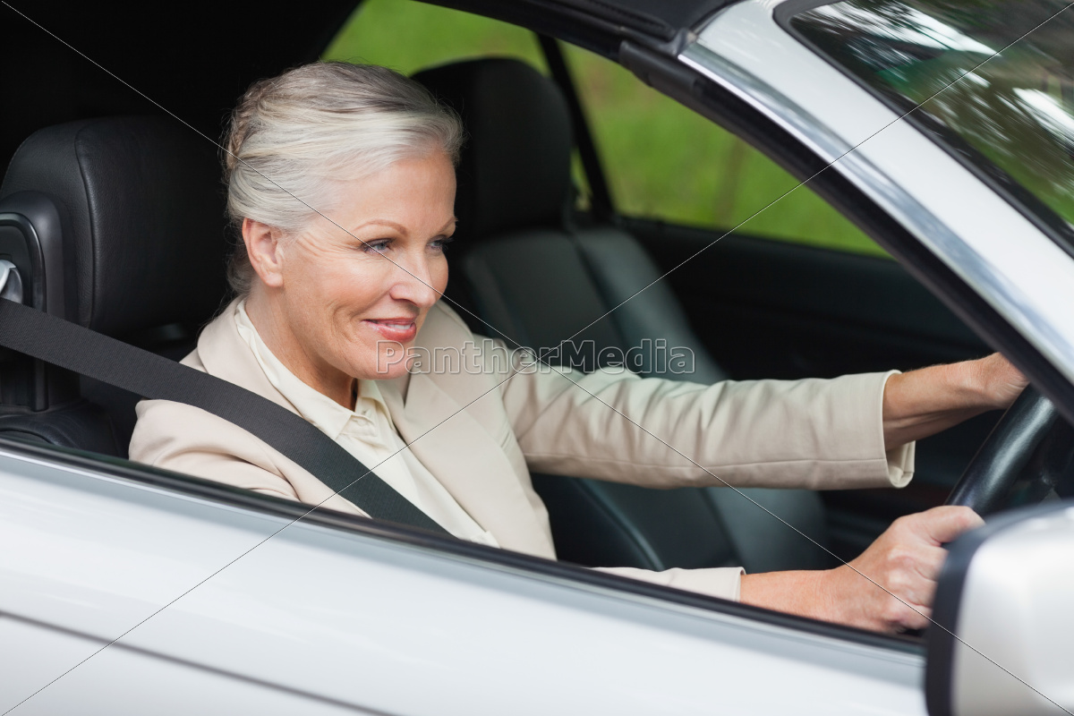 smiling, businesswoman, driving, classy, car - 10212747
