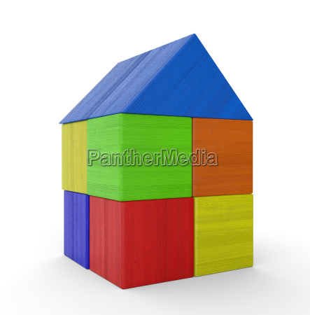 colorful house out of blocks isolated