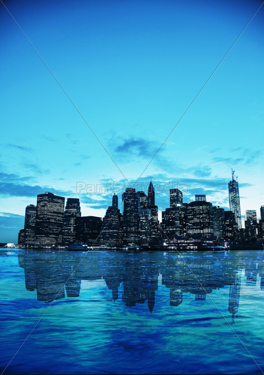 new, york, city, cityscape, at, sunset - 10216655