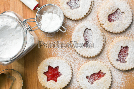 jelly christmas cookies with icing sugar