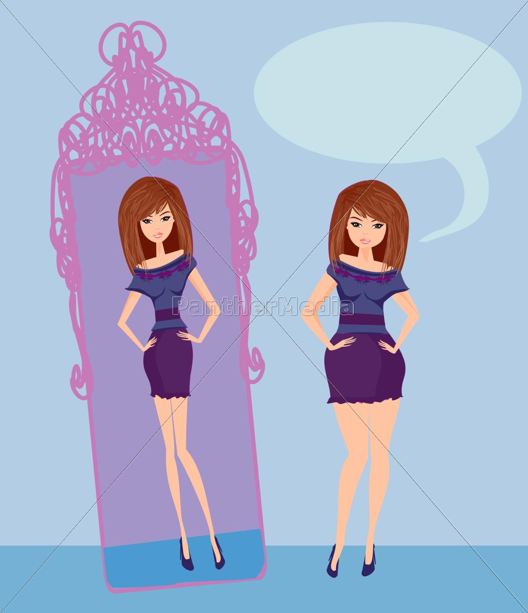 full, lady, enjoys, her, slim, reflection - 10226747