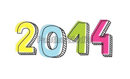 new year 2014 hand drawn colorful