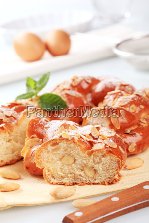 sweet braided bread wreath topped with