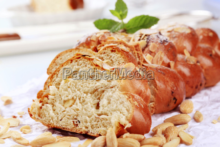 sweet braided bread with almonds and