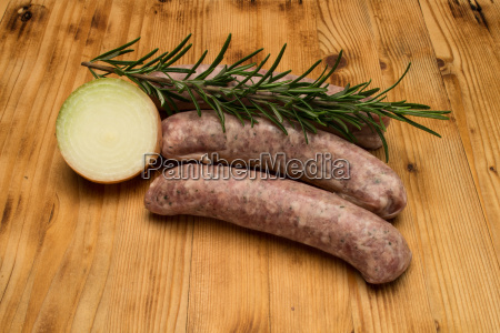 2 sausages on the old wooden