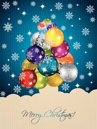 blue christmas greeting with tree shaped