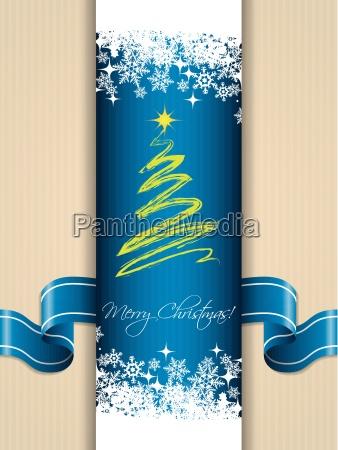 christmas greeting card with ribbon