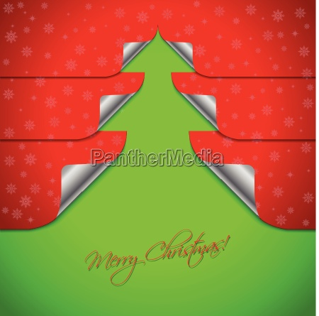 red christmas card with stickers shaping
