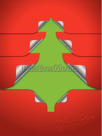 red greeting with stickers shaping christmas
