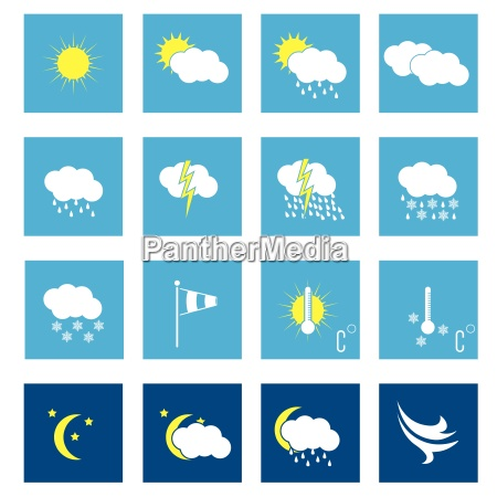 flat weather icon set of 16