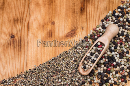 pepper colorful coarse fine with wooden