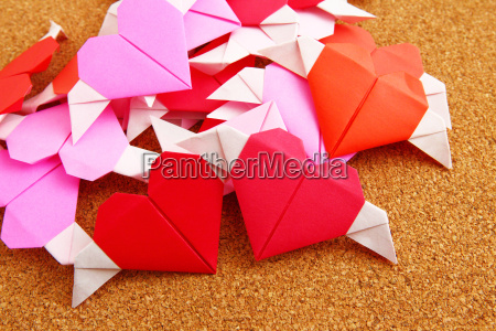 group of origami colorful heart on