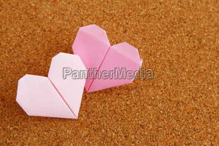 two origami heart