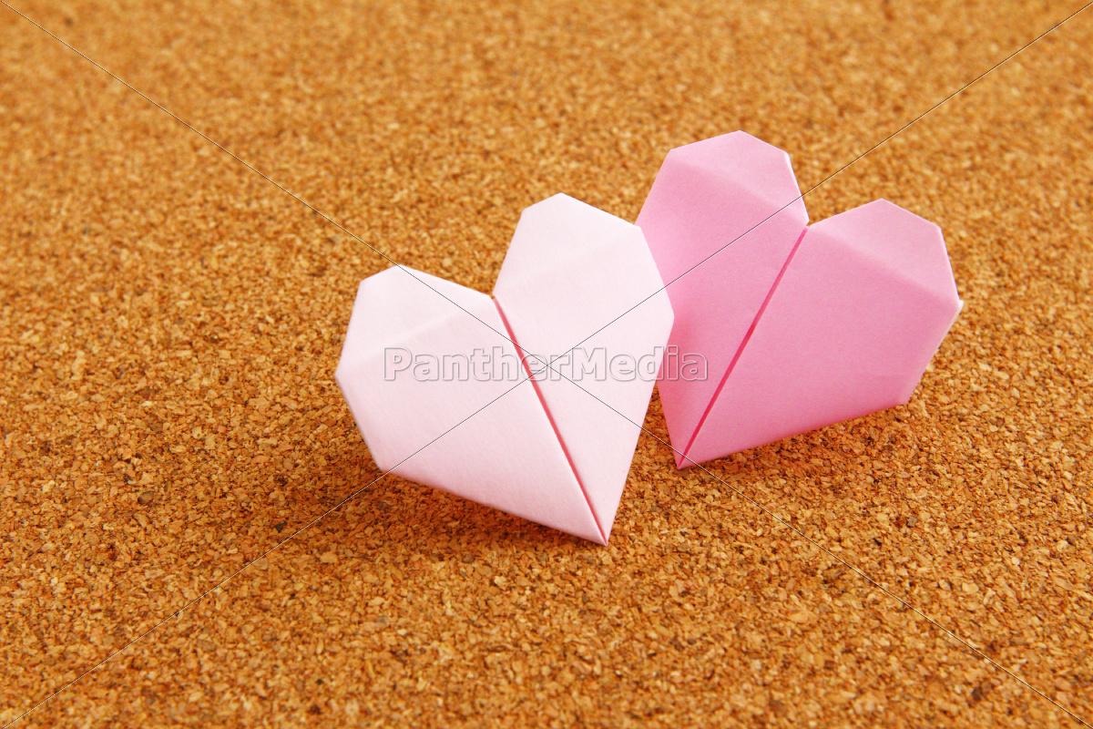 origami, colorful, heart, on, corkboard - 10250079