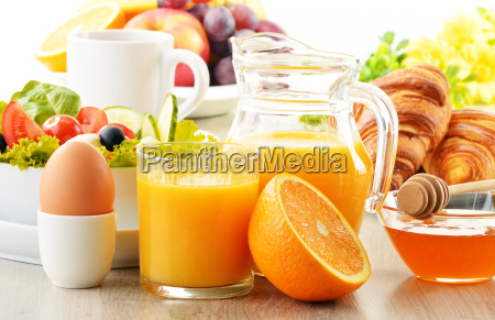 breakfast, with, coffee, , orange, juice, , croissant, - 10257593
