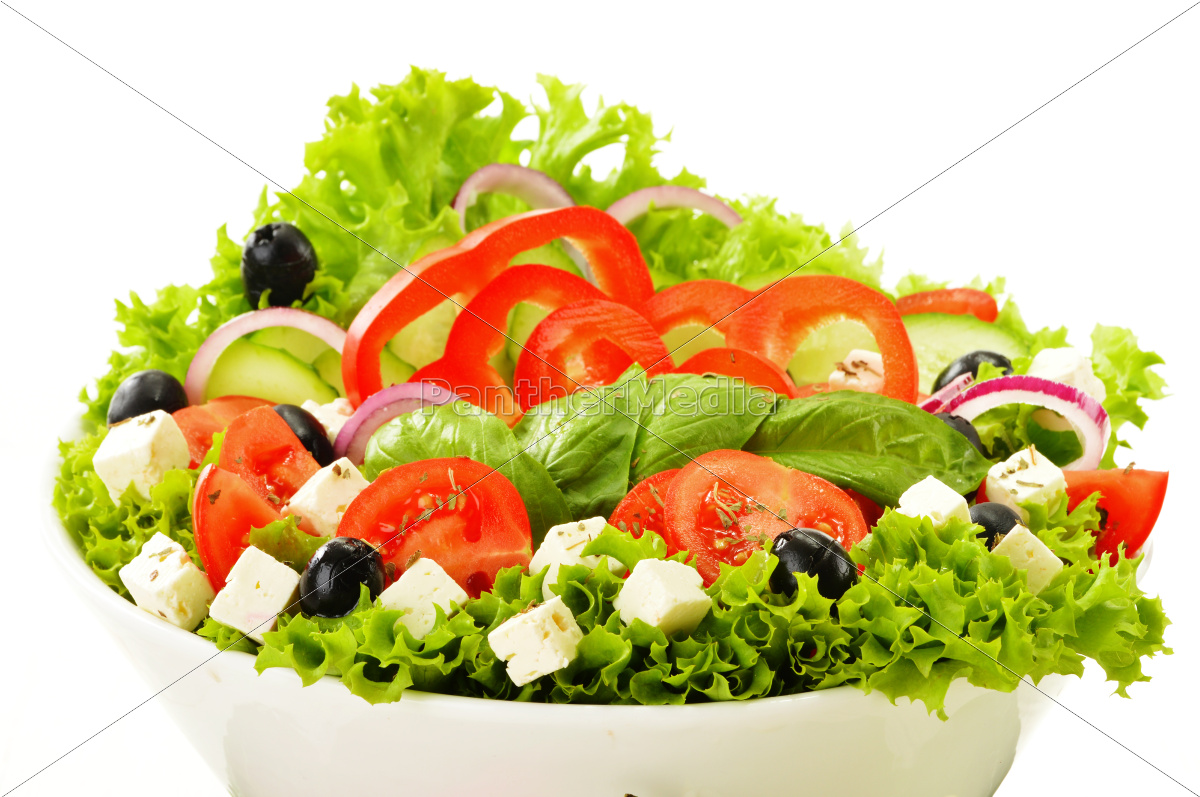 vegetable, salad, bowl, isolated, on, white - 10257603