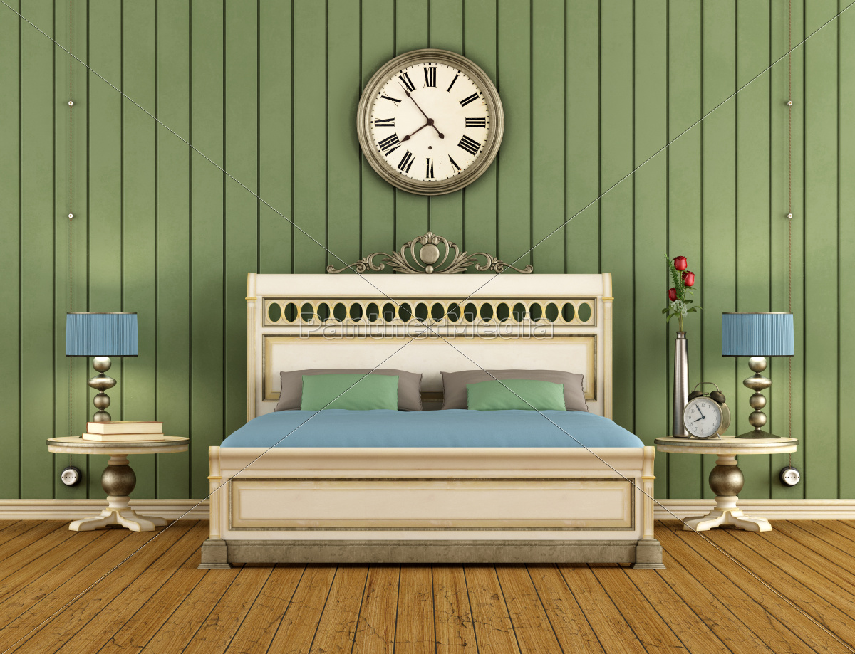 vintage, bedroom, with, green, wall, paneling - 10257517