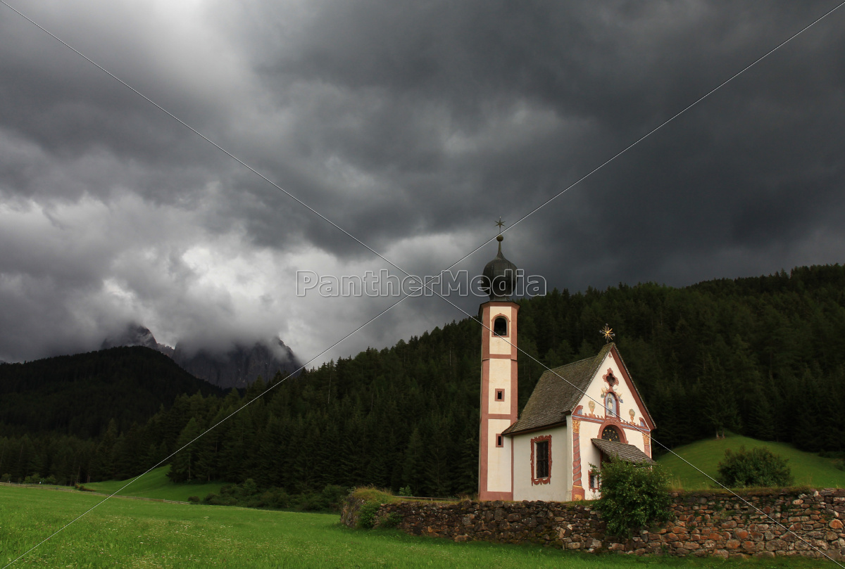 church, dolomites, chapel, thunderstorm, thundreous, meadow - 10259749