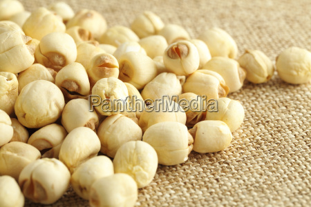 lotus seed on the linen background