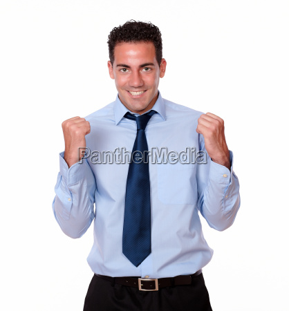 attractive, adult, man, celebrating, his, victory - 10263205