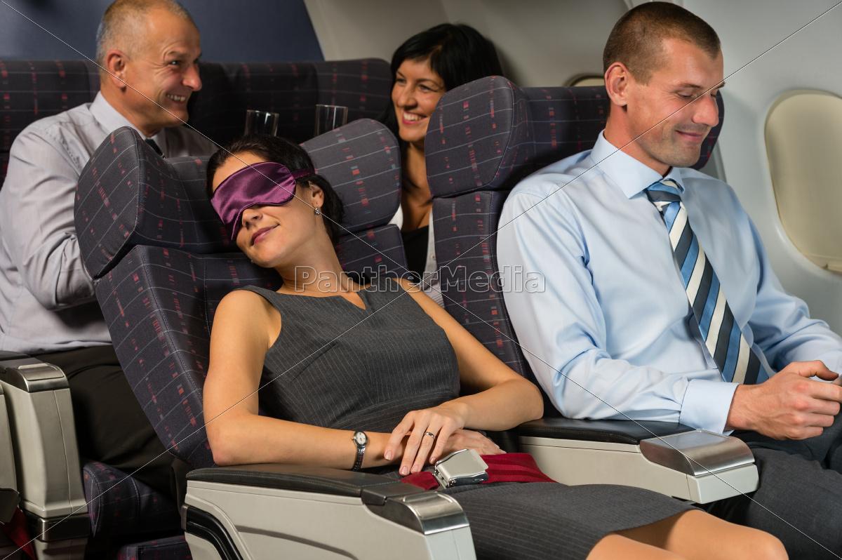 business, woman, sleep, during, flight, airplane - 10269333