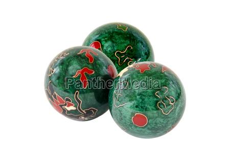 three balls with chinese motifs