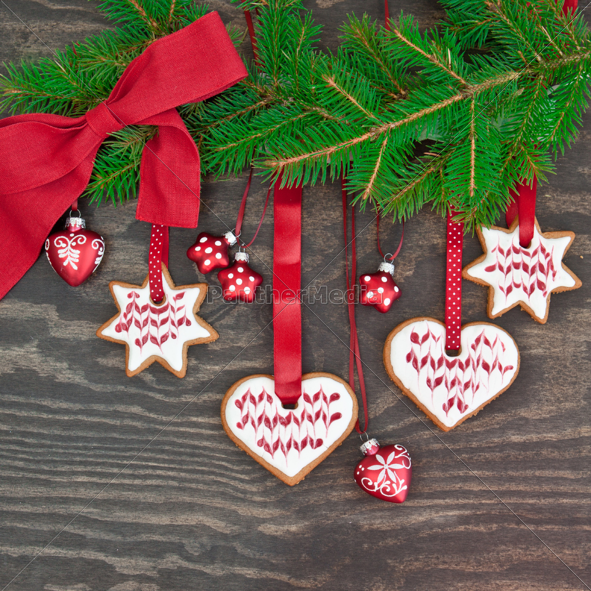 fir, branch, decorated, with, cookies - 10272841
