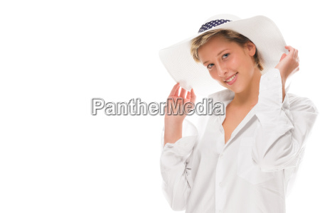 laughing woman with sunhat