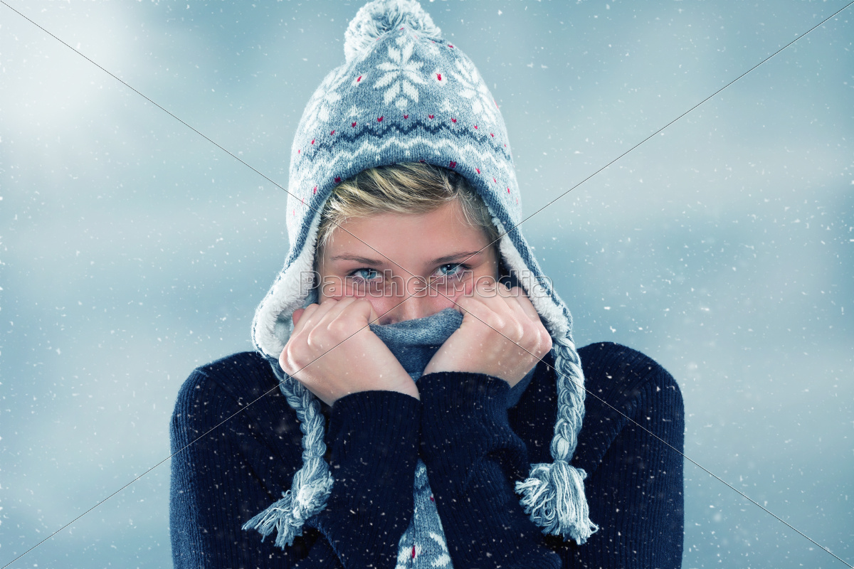young, woman, freezes, in, the, snow - 10281075