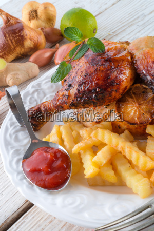 chickens with french fries