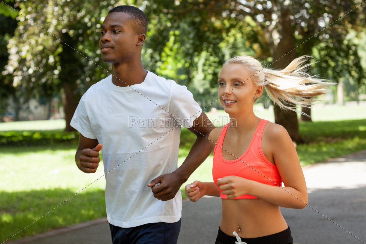 two, sporty, young, jogger, running, in - 10293077