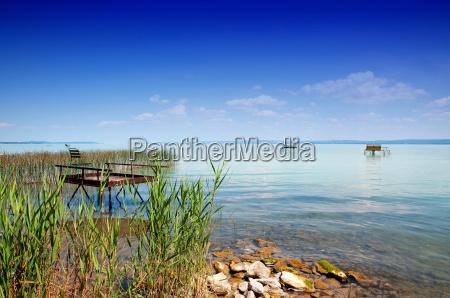 angler pier at lake balaton hungary