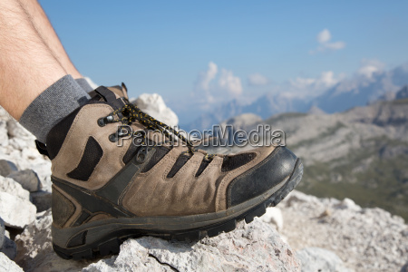 walking shoes of a hiker in