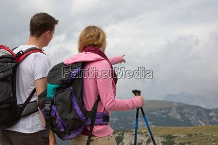 two young hikers are looking for
