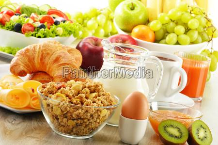 breakfast with coffee juice croissant salad