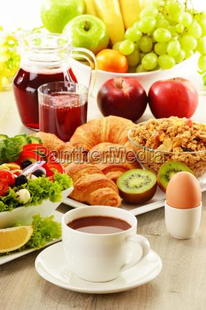 breakfast, with, coffee, , juice, , croissant, , salad, - 10299629
