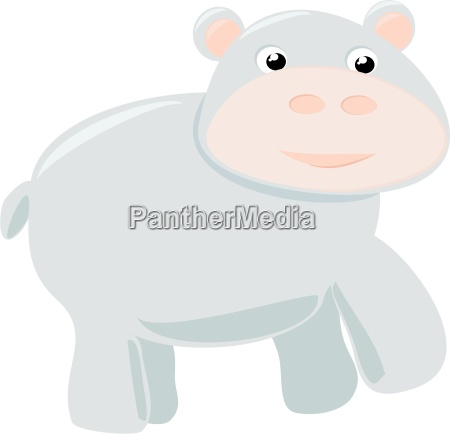happy baby hippo illustration isolated on