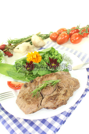 steak thick wide fat salad