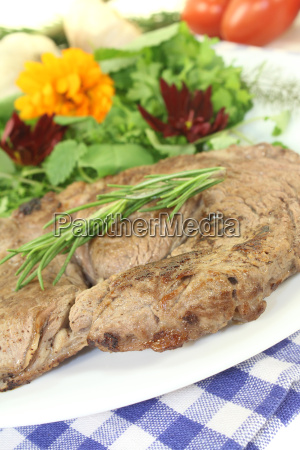 entrecote with wild herbs salad and