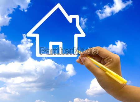 hand drawing house icon on blue