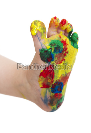 colored feet from young child